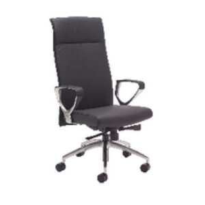 Avior Sicily High Back Slim Leather Chair and Arms Black