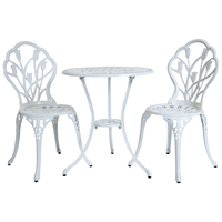 """Charles Bentley Cast Aluminium Tulip Bistro Table and Chairs Set """" White"""