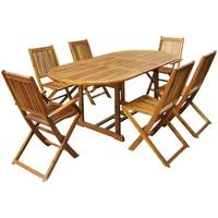 Charles Bentley FSC Acacia Hardwood Furniture Set with Extendable Table & 6 Chairs