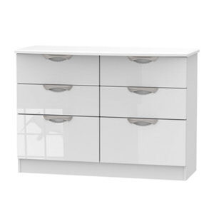 Chelsea Gloss white 6 Drawer Midi Chest (H)795mm (W)1120mm (D)415mm