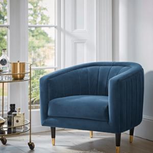 Fluted Velvet Occasional Chair - Blue