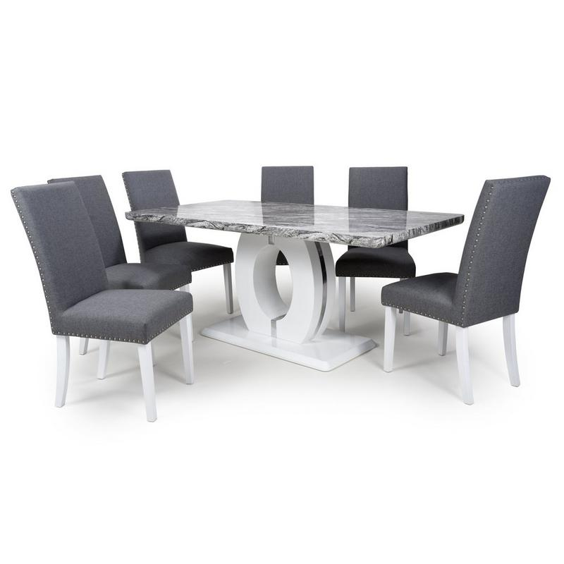 Grey Marble Effect 5 Piece Large Dining Set with Randall Chairs