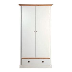 Hemsworth Cream oak effect 1 Drawer Double Wardrobe (H)1920mm (W)1040mm (D)580mm
