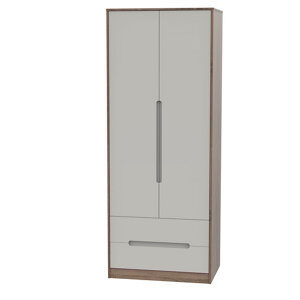 Nantes Contemporary Satin cashmere oak effect 2 Drawer Tall Double Wardrobe (H)1970mm (W)740mm (D)530mm