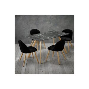 Venice Black Marble Effect Table and 4 Chairs