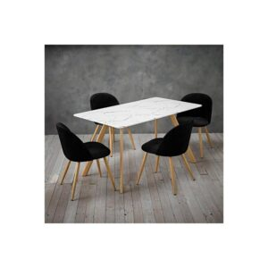 Venice White Marble Effect Table and 4 Chairs