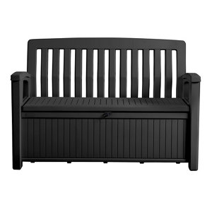 Keter Patio Wood effect Garden storage bench box - Partial assembly required