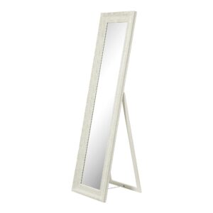 Free Standing Carved White Brush Gold Mirror