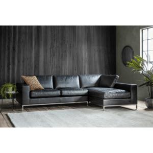 NEW Forte Black Leather Corner Chaise Sofa