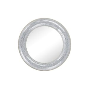 Round Silver Crackled Glass Effect Wall Mirror