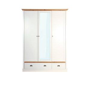 Hemsworth Mirrored Cream oak effect 2 Drawer Triple Wardrobe (H)1920mm (W)1480mm (D)580mm