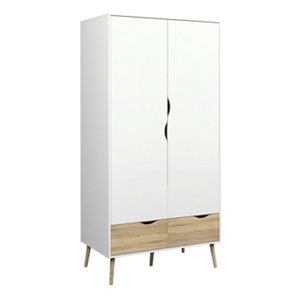 Ebru Contemporary White oak effect Particle board 2 Drawer Double Wardrobe (H)2001mm (W)986mm (D)580mm