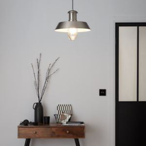 GoodHome Genly Silver Effect Pendant Ceiling Light
