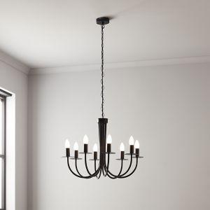 GoodHome Mashatu Black 8 Lamp Pendant Ceiling Light