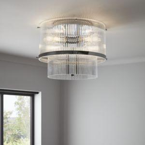 GoodHome Rhyolit Chrome Effect 3 Lamp Pendant Ceiling Light