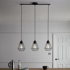 GoodHome Smertrio Matt Black 3 Lamp Pendant Ceiling Light
