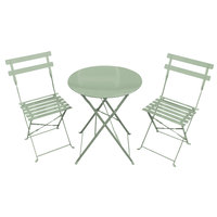 Charles Bentley 3 Piece Metal Bistro Set Garden Patio Table 2 Chairs - 6 Colours Green