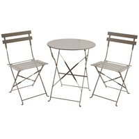 Charles Bentley 3 Piece Metal Bistro Set Garden Patio Table 2 Chairs - 6 Colours Taupe