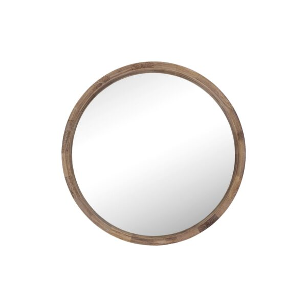 Wood Frame Ledge Round Wall Mirror