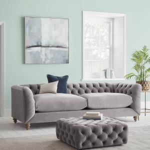 Dora Buttoned Four Seater Sofa - Deep Grey Velvet