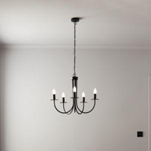 GoodHome Mashatu Black 5 Lamp Pendant Ceiling Light