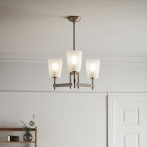 GoodHome Quadryx Brushed Chrome Effect 3 Lamp Pendant Ceiling Light
