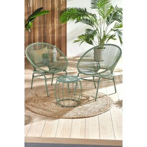 Santorini 3-Piece Rope Effect Garden Chairs and Table Set